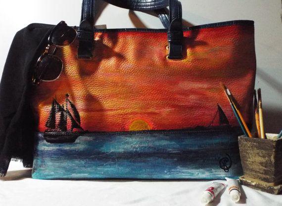 Large Tote...Hand Painted with Winter Seaside by JJsBottega #gift #KeyWestSunset #customtote #veganleathertote #Uniquegift #handpaintedbag #OOAK #Markettote #largetote #wearableart