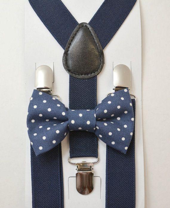8months-volwassene kinderen kinderen peuter Baby jongens Boy Mens marine blauwe bretels & Marine Polka Dot katoen strikje bruidegom pagina jongen instellen