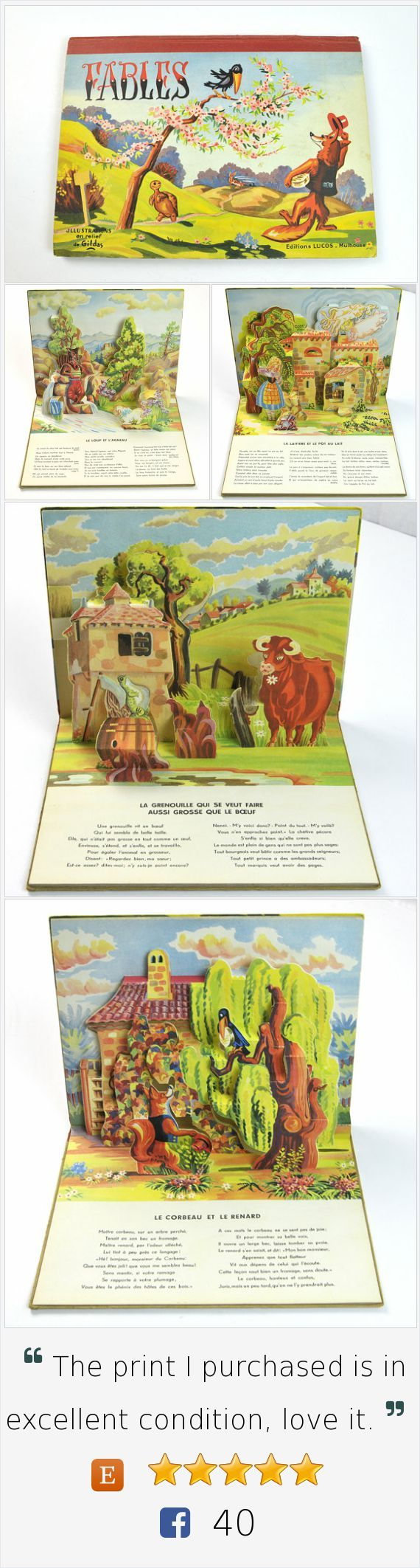 Vintage French Pop-Up Book, Fables, Illustrations by Gildas, Lucos, Mullhouse, 1950s, Midcentury, Children, Collectible