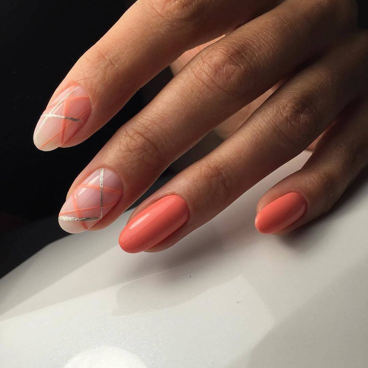 Everyday nails, Gel polish on the nails oval, Nail art stripes, Nails ideas 2017, Oval nails, Ribbon nail art, Two-color nails, Two-colored bright nails