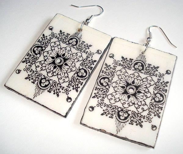 Decoupage - earrings https://www.facebook.com/eliatelierdecou