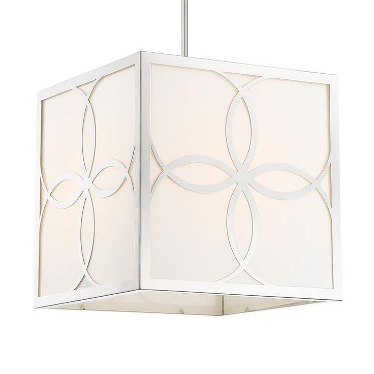 Crystorama 4 Light Polished Nickel White Square Chandelier ON BACKORDER UNTIL LATE APRIL