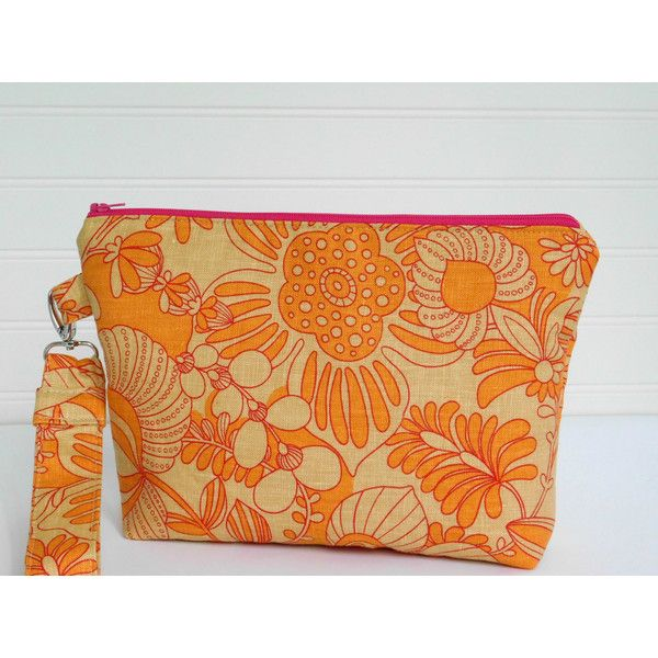Wristlet Evening Bag Orange Clutch Bag, Linen Handbag, Small Purse,... ($34) ❤ liked on Polyvore featuring bags, handbags and clutches
