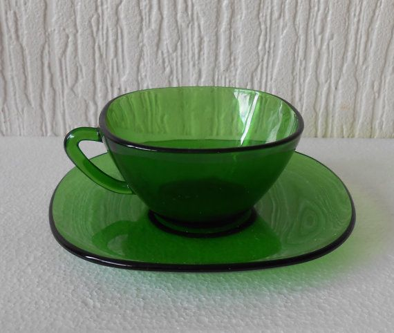 6 Vereco France Pyrex Green Coffee Cups and Saucers by DutchTrader, £20.00