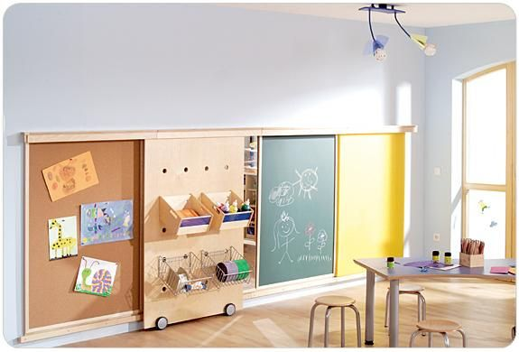 """This gives me the idea of a possible pegboard type system for Jax's toys in the """"family hobby/play room""""..."""