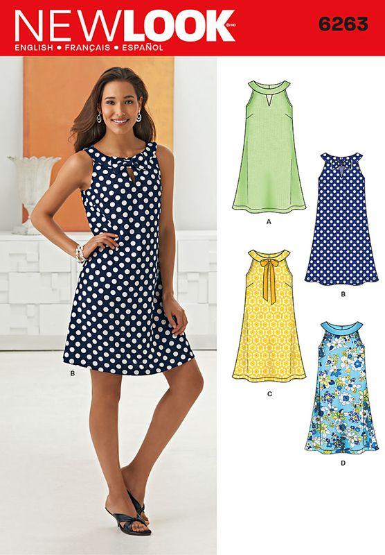 Schnittmuster NewLook 6263 Kleid A XS-XL bei Schnittmuster.Net - Schnittmuster.Net Schnitte, Hefte, Stoffe, Kurzwaren, 12,45 €
