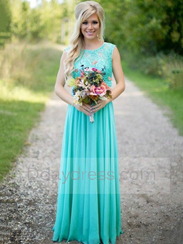 Scoop Neck Lace Chiffon Floor-Length Ruched New Style Bridesmaid Dresse Itembd0198