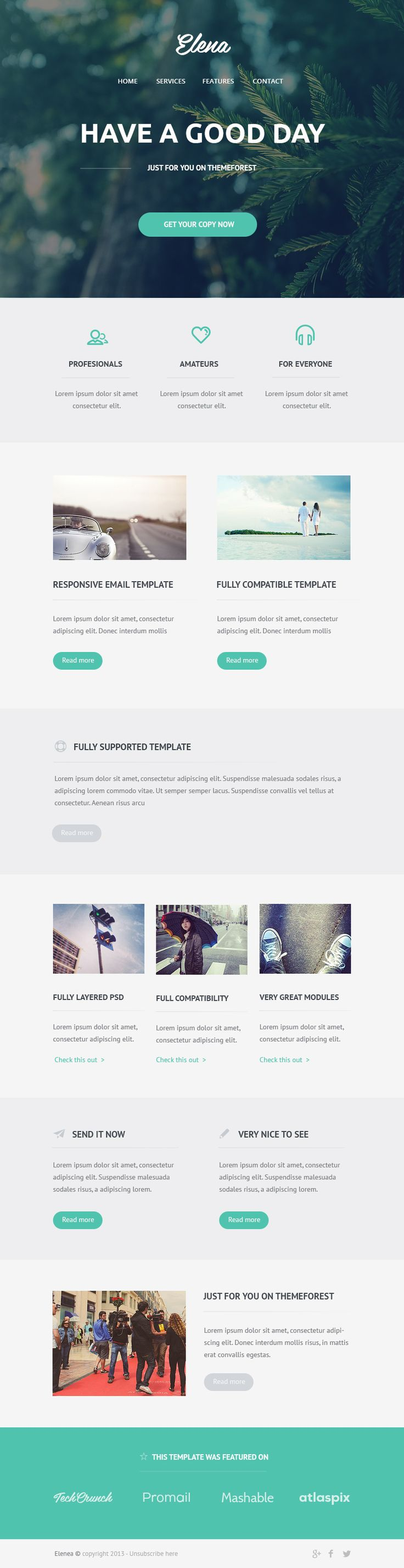 Flat, clean, minimal email psd theme download (free).