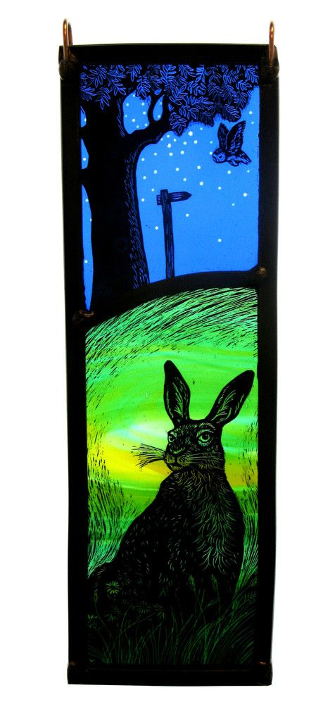 """Starry Owl, Meadow Hare"" by stained glass artist Tamsin Abbott"