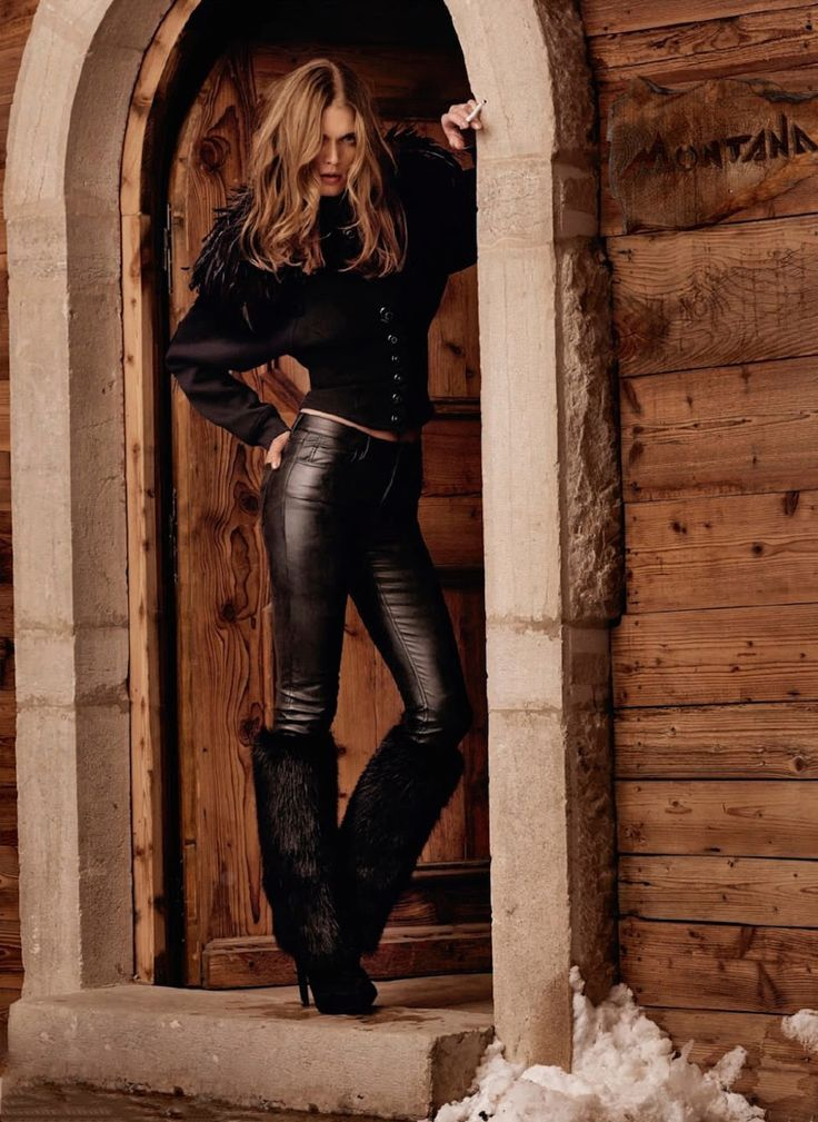 Malgosia Bela by Mark Segal for Lui - Louis Vuitton beaver fur boots, Acne Studios leather pants