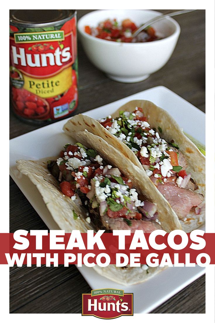 Make tonight's meal a zesty one in no time thanks to these Steak Tacos with Pico de Gallo. This tasty Mexican dish, topped off with Hunt's tomatoes, is simple to make and simply delicious.