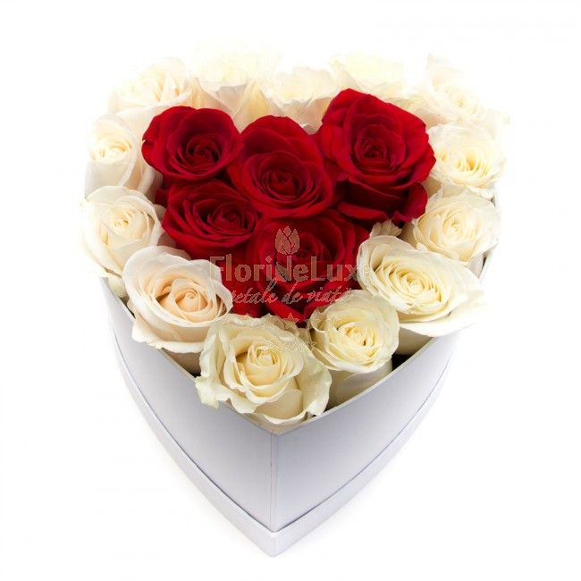 Very romantic box with roses - this is the perfect moment to send her the most romantic rose arrangement that she has ever seen. Order online and send anywhere in Romania the most special and unique rose box, just for her!