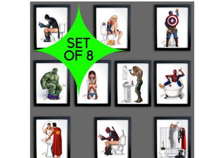 Superhero Bathroom Set Of 5 Print