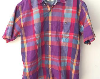 Shades of professor plum and mango make this Madras even more awesomely preppy.  L Cotton Madras Shirt Large Made in India