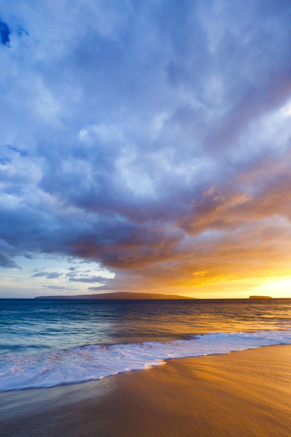 Hawaii - Maui, Makena - Wave washes over sand at Makena ...