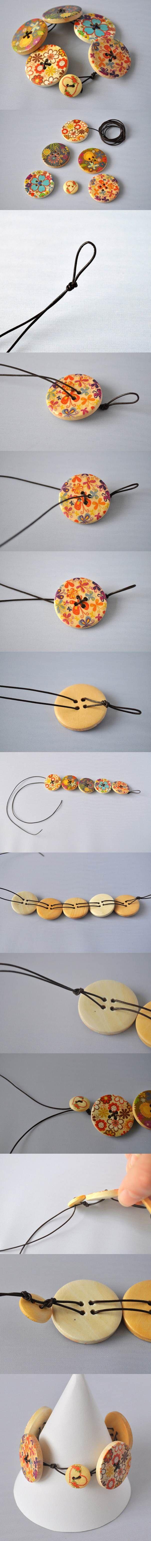 DIY Fashionable Button Bracelet | iCreativeIdeas.com Like Us on Facebook ==> https://www.facebook.com/icreativeideas