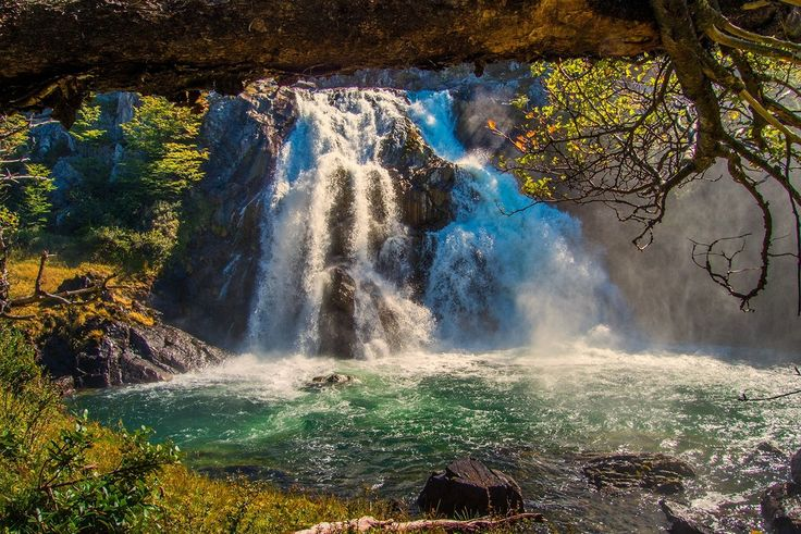 General 1500x1001 landscape nature waterfall forest grass river pond trees Patagonia Chile