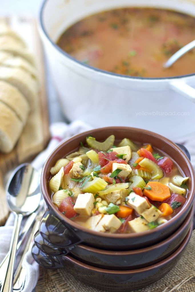 This is our favorite soup recipe - a hearty Chicken Soup full of vegetables and diced chicken breast. The soup is then ladled over cooked pasta for a perfect 30 minute meal (that tastes like it cooked forever!).
