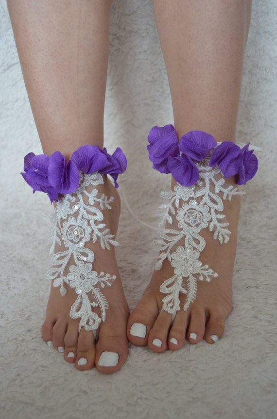 lace barefoot sandals wedding france lace anklet by UnionTouch