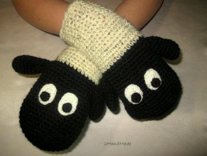 Sheep Lamb Crochet Gloves Mittens Animal Puppet Unisex Boy Girl Teen Women Men…