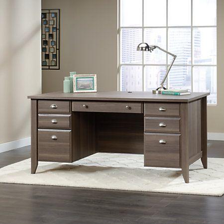 """Sauder Shoal Creek Executive Desk, 30 1/2""""H x 65 1/2""""W x 29 1/4""""D, Diamond Ash"""