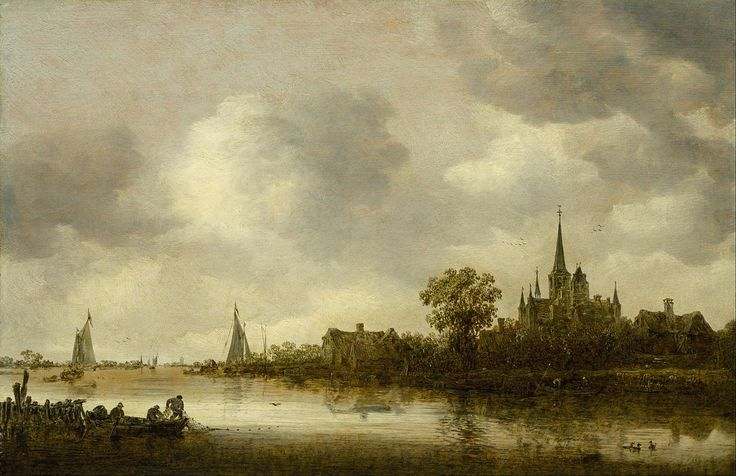 Jan van Goyen - Rivierlandschap met een kerk in de verte