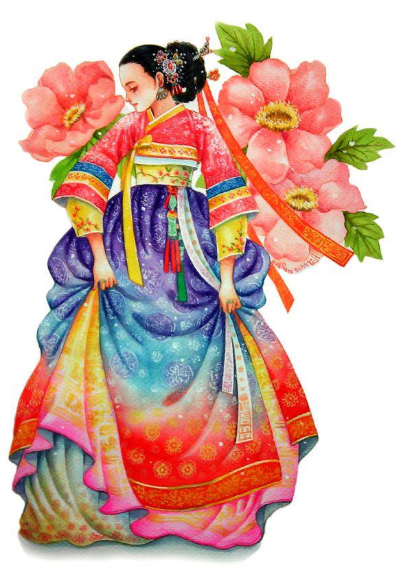 눈을 잠시 감아 떠올리면 향기로운 꽃과 같고 눈을 뜨고 바라보면 다소곳이 흔들리는 풀잎 같으나 여린 속내가 꽃잎으로 피어오르네  가지런히 잡은 치마자락은  두근거리는 마음처럼 너풀거리는데 차마 바로 보지 못하여 눈길 돌린 연심이 수줍어라  그리하여 내 수줍고 아름다운 여인은 눈감아도 꽃이여 눈떠도 꽃이여  이 마음은 꽃으로 날아가는 먼 비행에 행복한 나비여   as a flower