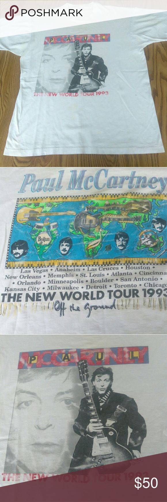 Paul McCartney 1993 The New World Tour XL Used as is Shirts