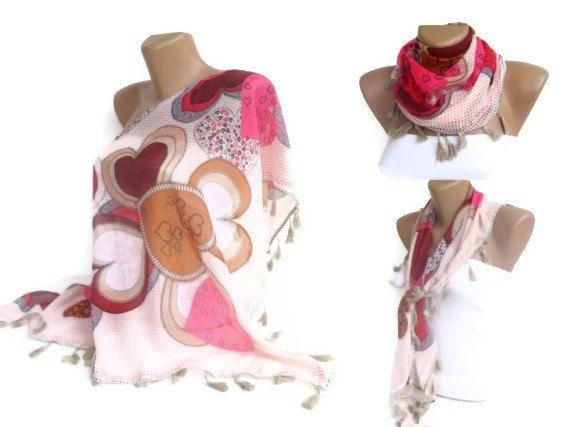 tassel scarf  triangle pink scarves  women fashion by seno on Etsy, $19.00