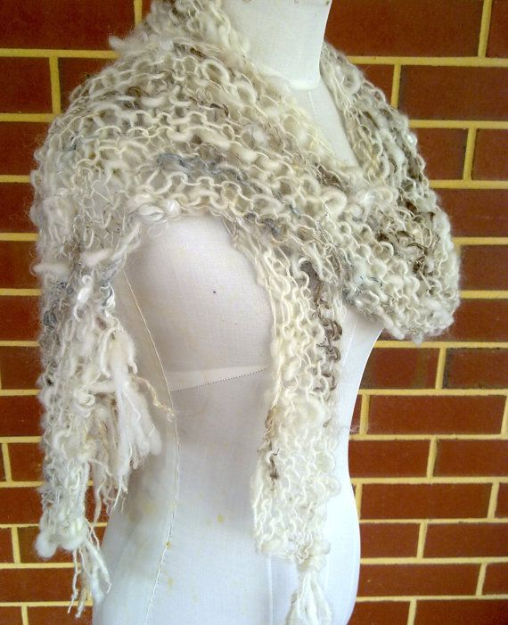 SALE Assymetrical Hand Knitted Art Yarn Scarf original design by plumfish