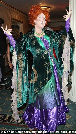 Costume contest winner? Meanwhile, a drag queen called Divine Grace wowed with her tribute to Bette's iconic witch character Winifred Sanderson from the 1993 comedy Hocus Pocus