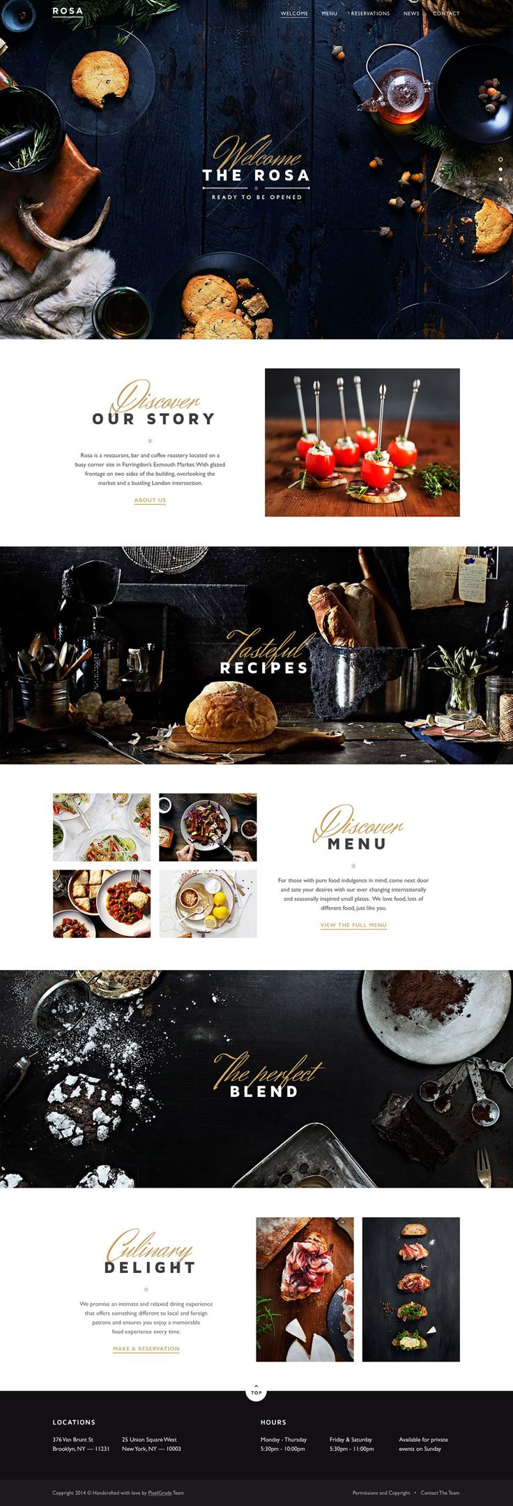 "We could leave the FLCKWLL script with ""photobooth"" tagline on the main photo and have a clean FLCKWLL in Brandon Grotesque in the header. ROSA Restaurant Website"