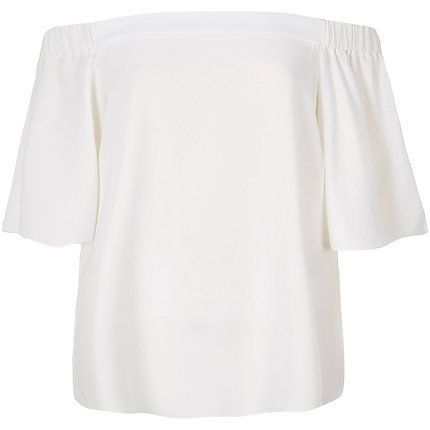 Cream bardot top $50.00