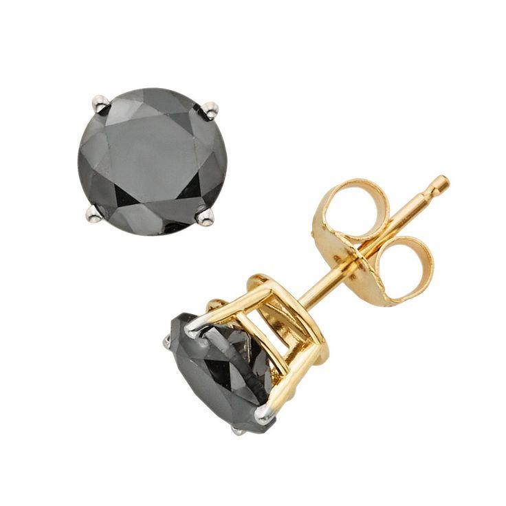 10k Gold 2-ct. T.W. Black Diamond Solitaire Earrings