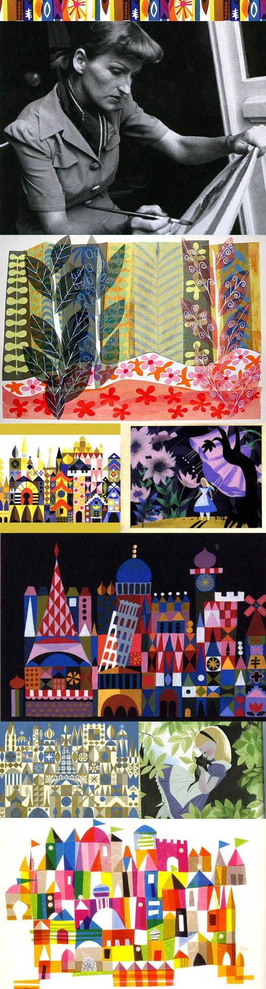 "An imaginative colorist and designer, Mary Blair helped introduce a modernist style to Walt Disney and his studio, and for nearly 30 years, he touted her inspirational work for his films and theme parks alike. Animator Marc Davis, who put Blair's exciting use of color on a par with Henri Matisse, recalled, ""She brought modern art to Walt in a way that no one else did. He was so excited about her work."""