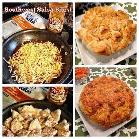 "SOUTHWEST SALSA BITES  Ingredients:  ¾ cup salsa  1 cup cheese  1 can Grands biscuits, quartered  1 TBSP Southwestern Seasoning Mix    Pour salsa in 10"" nonstick saute pan and then layer cheese on top. Add quartered biscuits. Sprinkle seasoning over biscuits. Bake at 350 for 15-18 minutes; check center biscuits for doneness. Flip out or slide out of dish. Serve immediately."