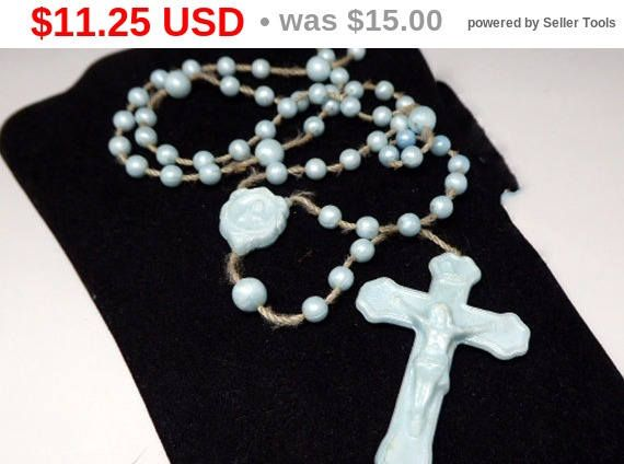 New Listings Daily - Follow Us for UpDates -  Inventory Reduction Sale - Reduced 25% Description or Style: Blue Rosary for a Child - Lucite Plastic Beads & Cross - Beaded Crucifix - Hand Knotted Prayer Beads - #Vintage ... #vintage #jewelry #teamlove #etsyretwt ➡️ http://etsy.me/2upQ4XX