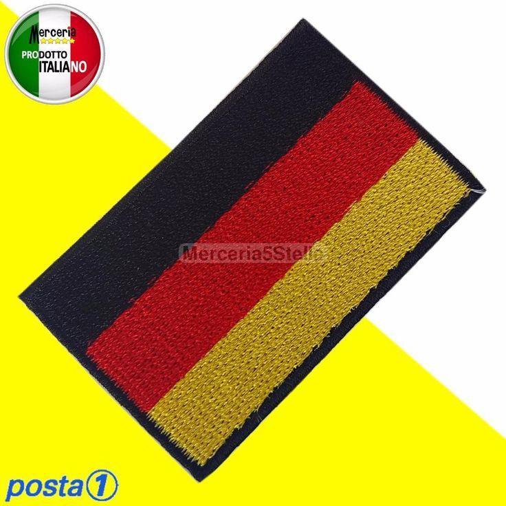 Toppe Toppa Termoadesiva Patch Ricamata Bandiera Tedesca Germania Deutschland