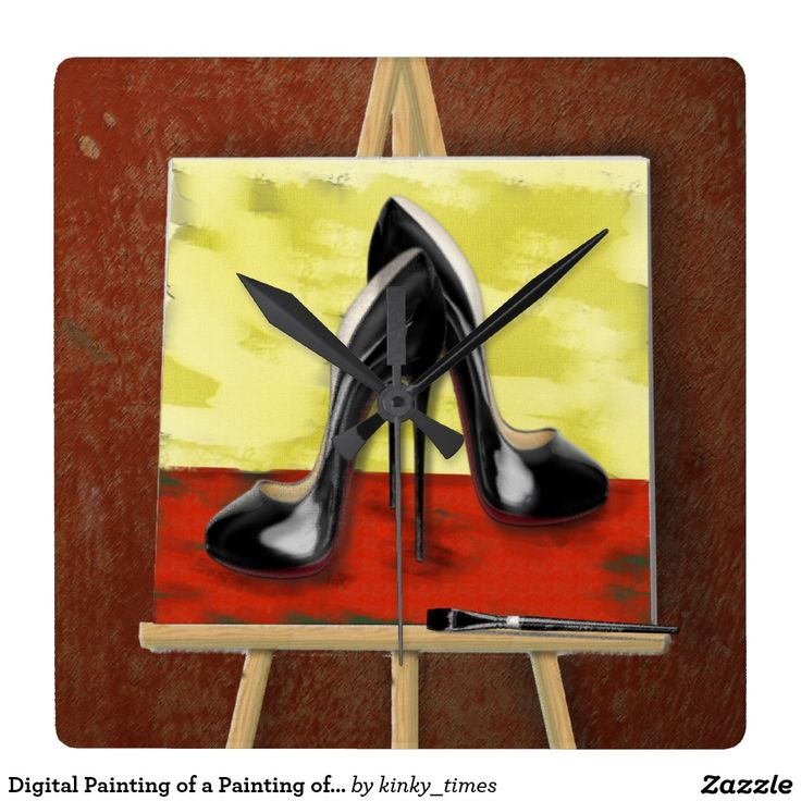 Digital Painting of a Painting of Stiletto's Square Wallclocks