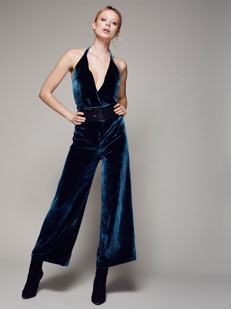 Rumpled Silk Romper | Super cool velvet jumpsuit with a retro-inspired feel. Features a halter neckline with a crossover front and lovely lace-up back detail. Defined waist with a high rise fit and fun flared leg.