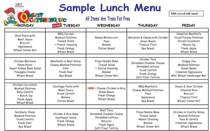 childcare lunch menu - Google Search