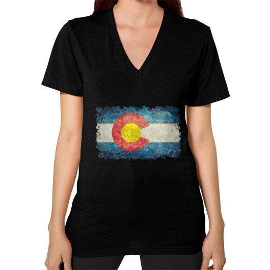 Flag of Colorado in vintage retro style V-Neck (on woman)