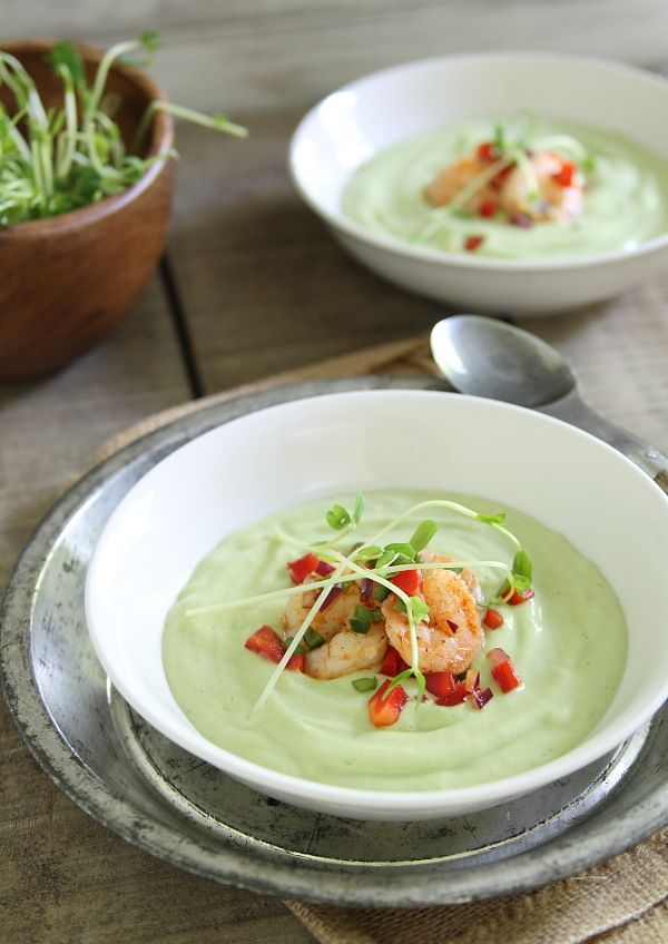 Chilled avocado sweet corn soup with lime shrimp salsa