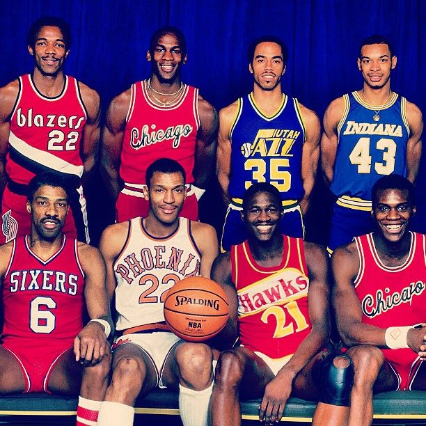 The '85 Dunk Contest Participants: Julius Erving, Larry Nance, Dominique Wilkins, Orlando Woolridge, Clyde Drexler, Michael Jordan, Darrell Griffith and Terrance Stansbury