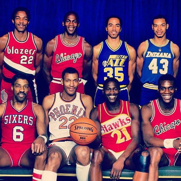 The '85 Dunk Contest Participants: Julius Erving, Larry Nance, Dominique Wilkins, Orlando Woolridge, Clyde Drexler, Michael Jordan, Darrell Griffith and Terrance Stansbury