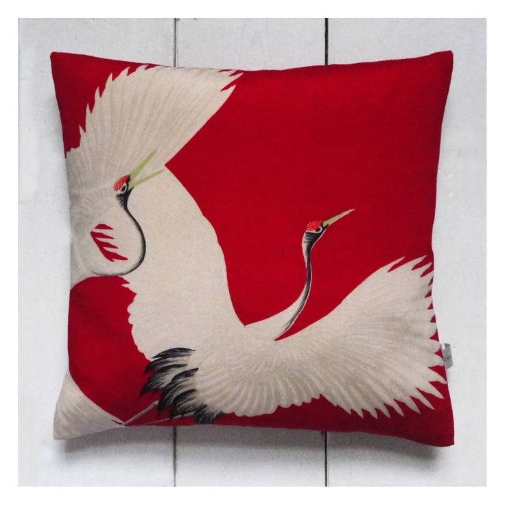 "Red & White Vintage Silk Kimono Cushion Pillow 'Cranes' (12"" x 12"", 1940's)"