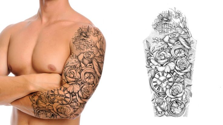 Floral and Clocks Tattoo Sleeve Design. You dream it, we draw it. Get started on your custom tattoo design today! :)
