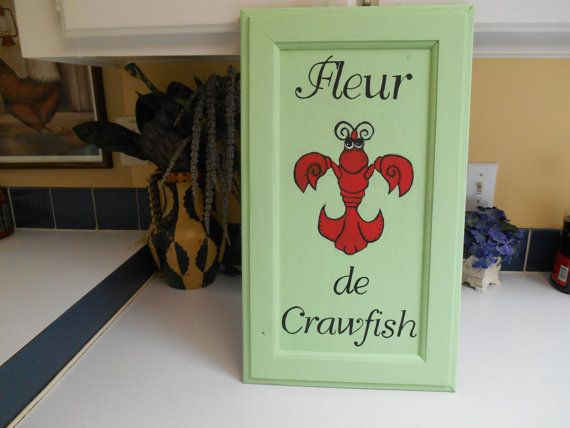 New Orleans Fleur De Lis Sign Crawfish Sign Painted