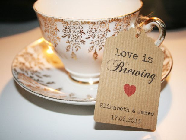 """Love is Brewing"" bridal shower tag"