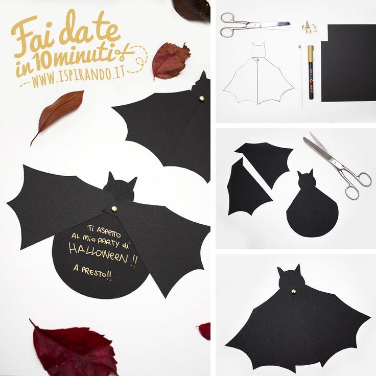 Se siete in cerca di un'idea last minute per il vostro party di Halloween, ecco un tutorial per creare inviti di Halloween fai da te a forma di pipistrello!  - DIY Halloween invitation • #DIY #halloween #bat #invitation